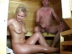 sauna sex with sexually excited older hotties