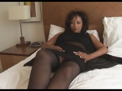 breasty older danica in open girdle and nylons