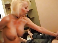 wicked blond momma in belt and nylons rides hard