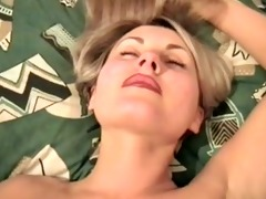older blond chick likes it is coarse