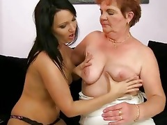 bulky granny enjoys lesbo sex with legal age