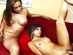 mommy and daughter share hard thick rod