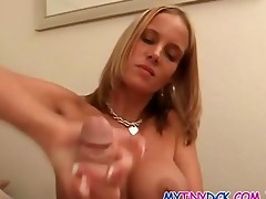 blond playing with 0 inch ramrod