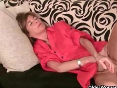slender grandma rubs her small vagina aperture