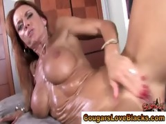 older interracial wench acquires a jizz flow