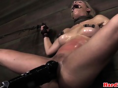 golden-haired nipp clamped sadomasochism sub