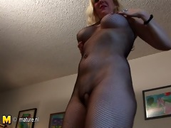 american housewife at fishnet costume likes to