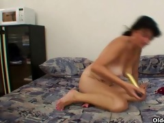busty granny hailey plays with fake rod
