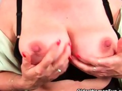 granny with large tits finger copulates her sweet
