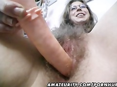 curly dilettante wife toys and rides a penis with