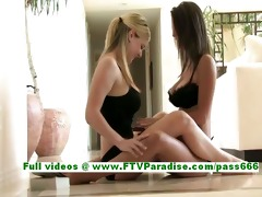 dark brown and blond lesbo teenages licking and