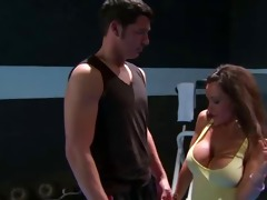 breasty muscled hottie drilled fitness tutor