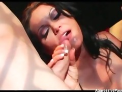 breasty brunette hair double penetrated