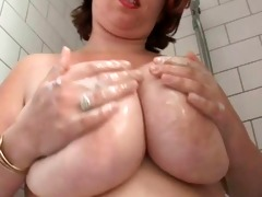 obese breasty hairy wife in the shower