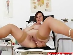 dark brown lady practical nurse teases in uniforms