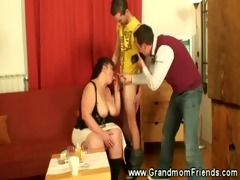 horny older engulfing dick and microphone