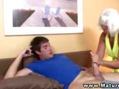 aged granny tugging rod for favourable guy