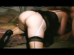 sexy wife in stocking getting a creampie from