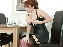 old redhead misplaces her stiletto and finds it