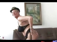 impure euro granny with glasses acquires drilled