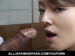 marvelous japanese chick sucks on a ball sac