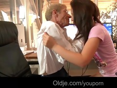 juvenile lascivious maid fucks her old boss to