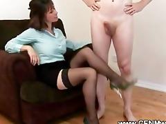 cfnm aged practice her hand skills