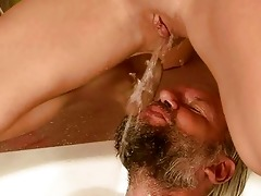 older man and girl pissing and fucking