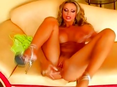 breasty blond milf pounded herself with a lengthy