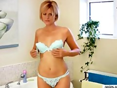 at home cougar sex-toy washroom masturbation