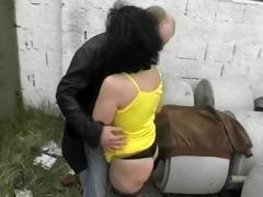 aged whore takes three dicks in public - julia