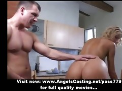 non-professional pleasant blond playgirl doing