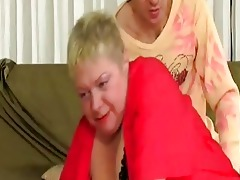 chubby blond granny tries to fight...