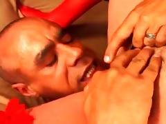granny allows her new darksome chap to fuck her
