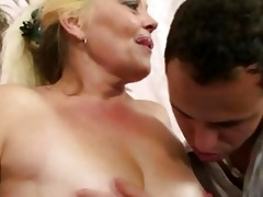 golden-haired granny acquires her muff slammed