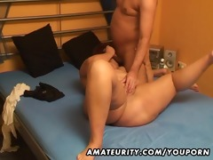 plump non-professional wife sucks and copulates