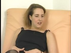 aged brunette hair in underware undresses and