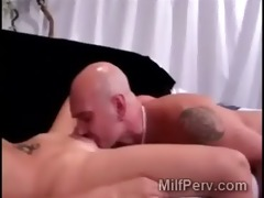 fabulous blond milf begins foreplay with hairless
