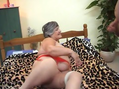 81 years old greedy grandma libby 3some