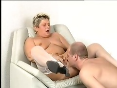 overweight granny in white stockings sucks and