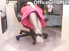 large boobs milf secretary masturbates her