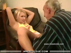 older man and her golden-haired grand daughter