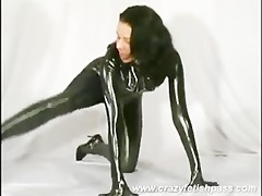 cute rubber babe streching her legs and teasing