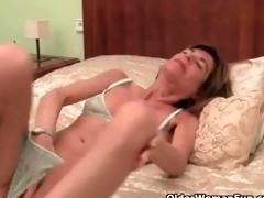 very slim granny disrobes off and masturbates her