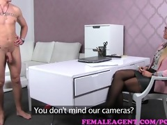 femaleagent. milf lets guy cum in her face hole