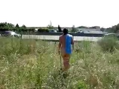 breasty french lady showing bare near motorway
