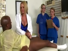 doctors in uniform play with a dark ramrod