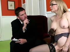 marvelous blonde mom mounts sons boss in his face
