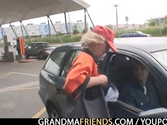 golden-haired granny has three-some outdoors