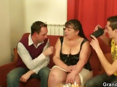 obese older floozy swallows dongs